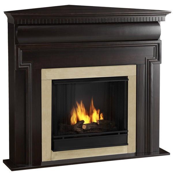 Mt. Vernon Real Flame Dark Walnut Ventless Gel Corner Fireplace