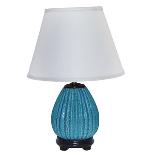 Speckled Turquoise Ribbed Pot Table Lamp