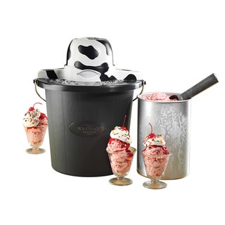 Nostalgia Electrics 4-quart Cow Black Ice Cream Maker