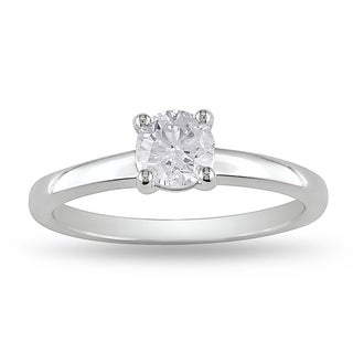 Miadora 14k White Gold 3/5ct TDW Certified Diamond Solitaire Ring (G-H, VS2-SI1)