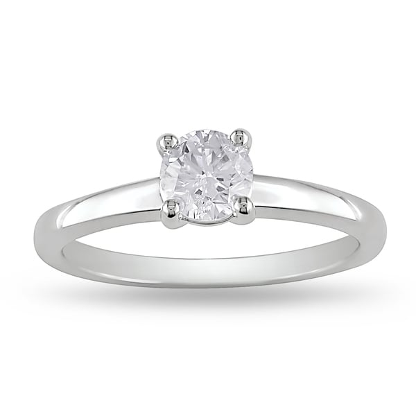 Miadora Signature Collection 14k White Gold 3/5ct TDW Certified Diamond Solitaire Ring (G-H, VS2-SI1)