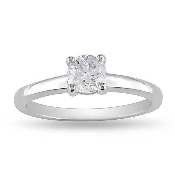 Miadora Signature Collection 14k White Gold 3/5ct TDW Certified Diamond Solitaire Ring (D, VS2, GIA)