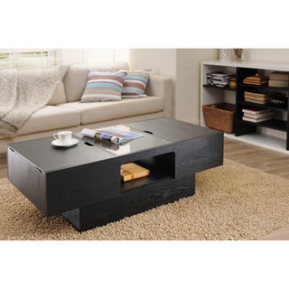Stevie Black Finish Hidden Storage Coffee Table