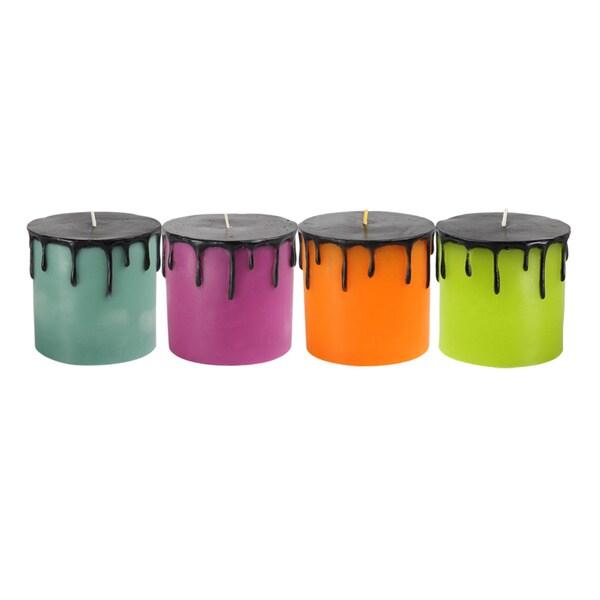 3 x 3 Halloween Drip Pillar Candle (Set of 6)