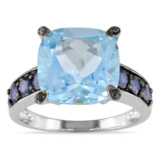 Miadora 10k White Gold Multi-gemstone and Black Diamond Cocktail Ring