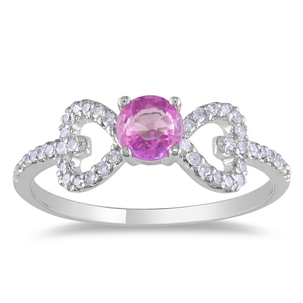 Miadora 10k White Gold Pink Sapphire and 1/5ct TDW Diamond Ring (G-H, I1-I2)