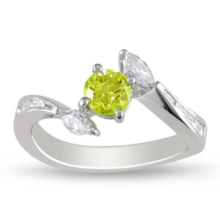 Miadora 18k White Gold 1ct TDW Yellow and White Diamond Ring (G-H, I1-I2)