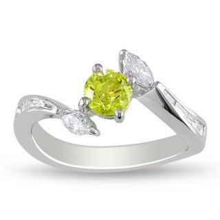 Miadora 18k White Gold 1ct TDW Yellow and White Diamond Ring (G-H, I1-I2)