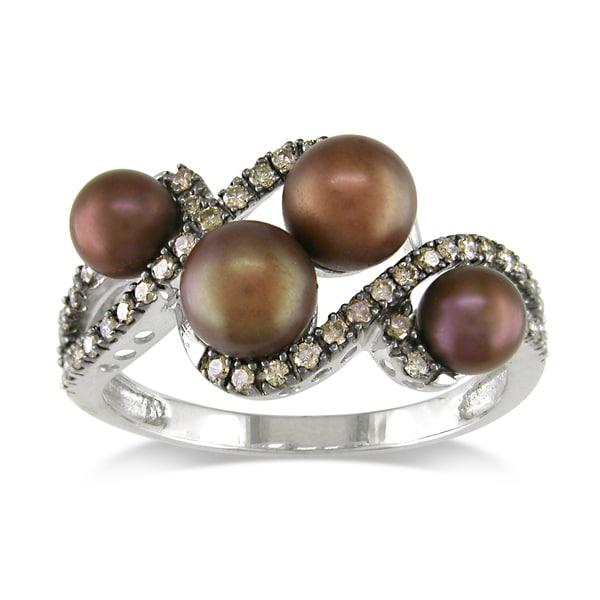 Miadora 14k White Gold FW Brown Pearl and 1/4ct TDW Brown Diamond Ring