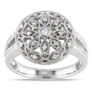 Miadora Sterling Silver 1/10ct TDW Diamond Ring (G-H, I1-I2)