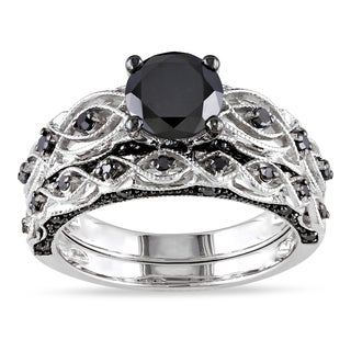 Miadora 10k White Gold 1 2/5ct TDW Black Diamond Bridal Ring Set (I1-I2) with Bonus Earrings