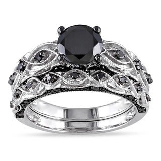 Miadora 10k White Gold 1 2/5ct TDW Black Diamond Bridal Ring Set (I1-I2)