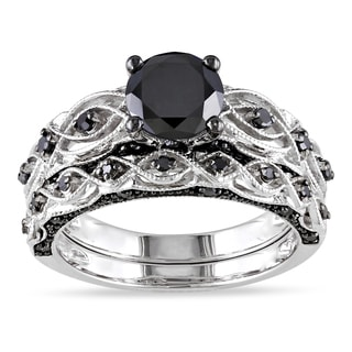 Miadora 10k White Gold 2 3/8ct TDW Black Diamond Bridal Ring Set
