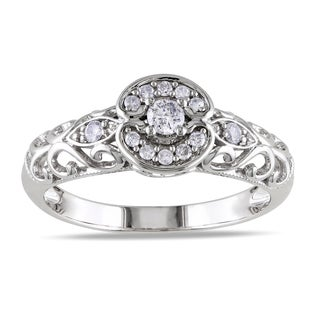 Miadora 10k White Gold 1/4ct TDW Round-cut Diamond Ring (G-H, I1-I2)