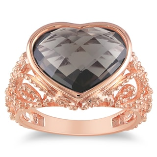 Miadora Pink Rhodium-plated Silver Smokey Quartz Heart Ring