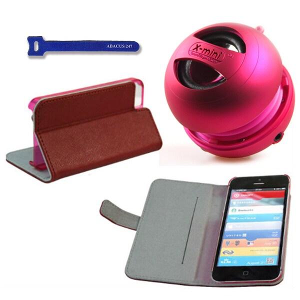 Pink X-mini Apple iPhone 5 Red Case Cover Stand/ Pink X-mini II Capsule Speaker