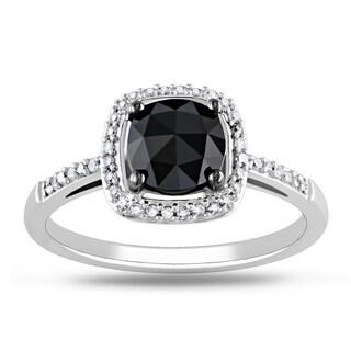 New! Miadora 14k White Gold 1 1/8ct TDW Black and White Diamond Ring (G-H, I1-I2)