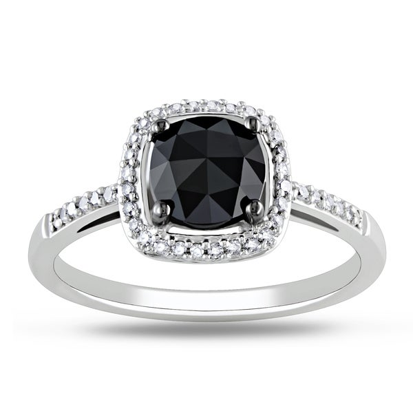 Miadora 14k White Gold 1 1/8ct TDW Black Diamond Ring (G-H, I1-I2)