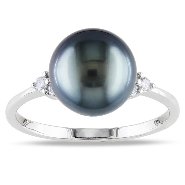 Miadora 14k White Gold Tahitian Pearl and 1/8ct TDW Diamond Ring (G-H, I1-I2)