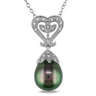 Miadora Sterling Silver Tahitian Pearl and Diamond Accent Necklace