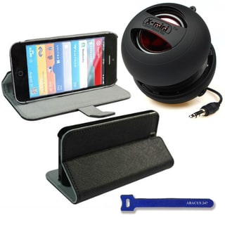 Black X-mini Apple iPhone 5 Black Case Cover Stand/ X-mini II Capsule Speaker