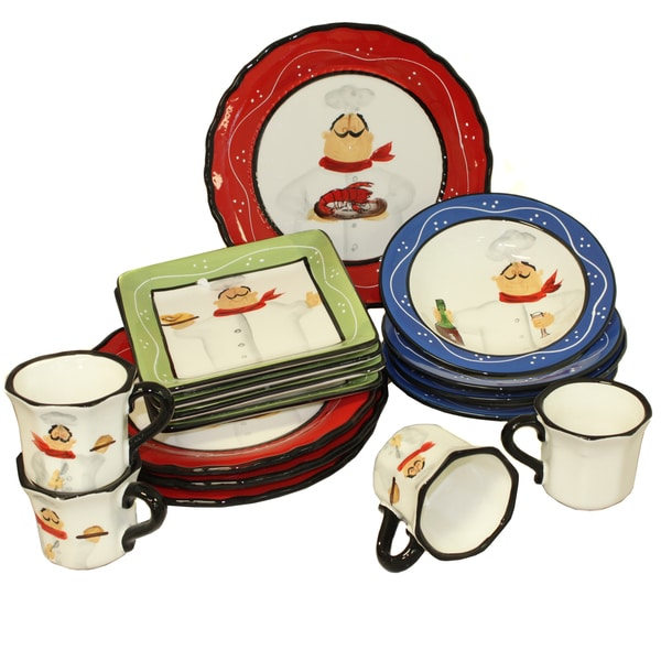 Chef Italiano Hand-painted 16-piece Dinner Set