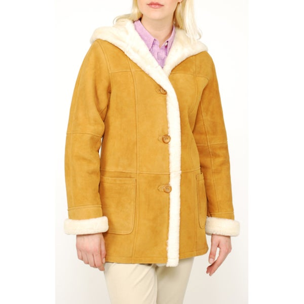 Women's Hooded 4-button Shearling Coat