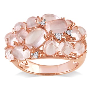 Miadora Rose-plated Silver Rose Quartz and Diamond Accent Ring