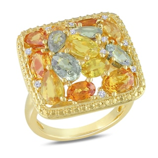 Miadora Yellow-plated Silver Sapphire and 1/10ct TDW Diamond Ring (H-I,I3)