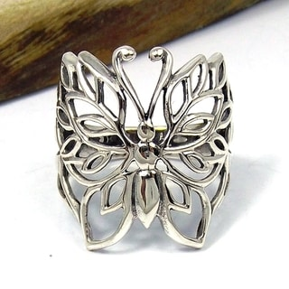 Pretty Wild Sterling Silver Filigree Butterfly Ring (Thailand)