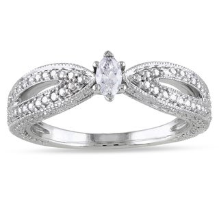 Miadora 10k White Gold Marquise Diamond Ring (H-I, I2-I3)