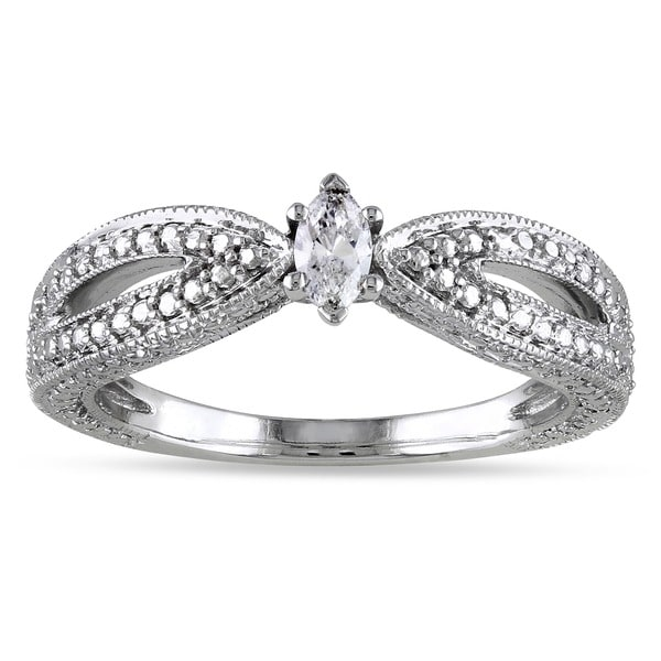Miadora 10k White Gold Marquise-cut Diamond Solitaire Split Shank Promise Ring (G-H, I2-I3)