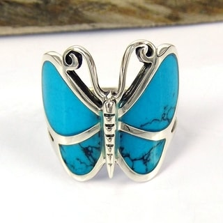 Sterling Sliver Chic Butterfly Motif Stone Ring (Thailand)