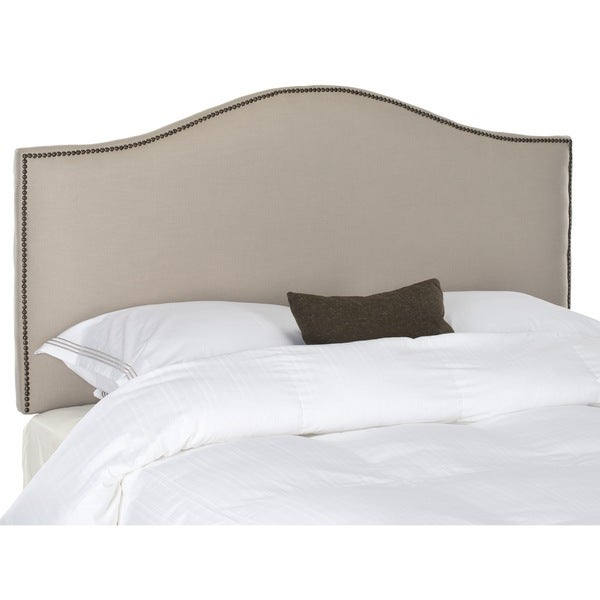 Connie Taupe Grey Linen Upholstered Headboard Brass Nailhead