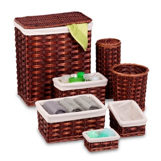 Honey-Can-Do HMP-01866 7-Piece Wicker Hamper and Bath Set