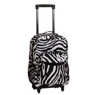 Rockland Designer Zebra Print 17-inch Rolling Carry-on Backpack