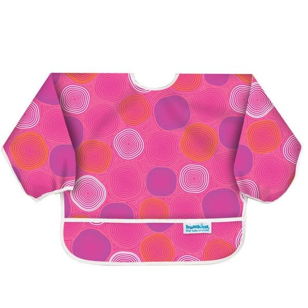 Bumkins Waterproof Sleeved Bib in Pink Groove