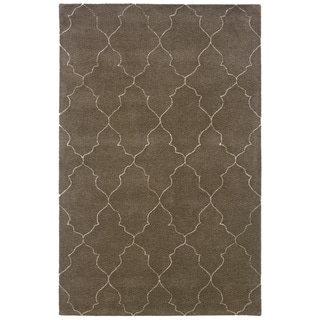 Hand-Tufted Grey/Beige Indoor Wool Area Rug