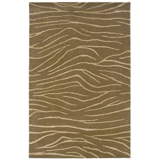 Hand-tufted Brown Animal-print Wool Rug
