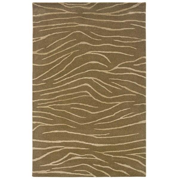 Hand-tufted Brown Animal-print Wool Rug