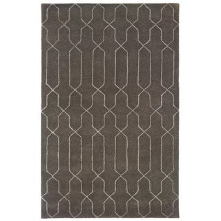 Hand-tufted Grey/ Beige Wool Area Rug