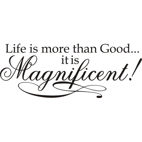 Design on Style 'Life is more than Good it is Magnificent!' Vinyl Art Quote