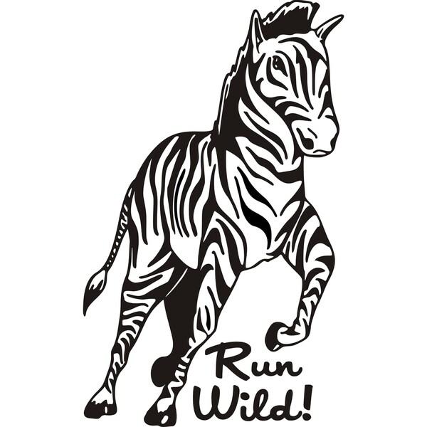 Design on Style 'Zebra run wild!' Vinyl Art Quote