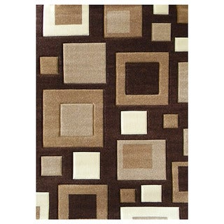 Studio 601 Geometric Square Design Brown Area Rug (5'x7')