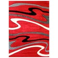 DonnieAnn Studio 603 Wave Design Red Area Rug (5'x7')