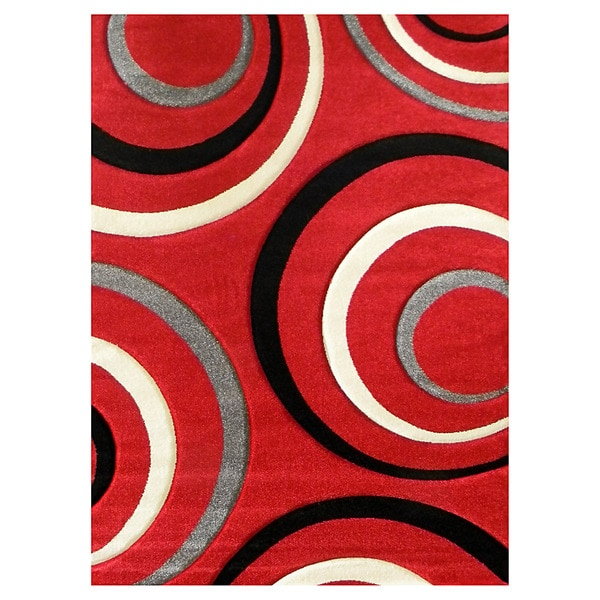 Studio 605 Geometric Design Red Area Rug