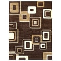 DonnieAnn Studio 607 Geometric Design Brown Area Rug (5'x7')