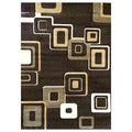 DonnieAnn Studio 607 Geometric Design Chocolate Area Rug (5'x7')