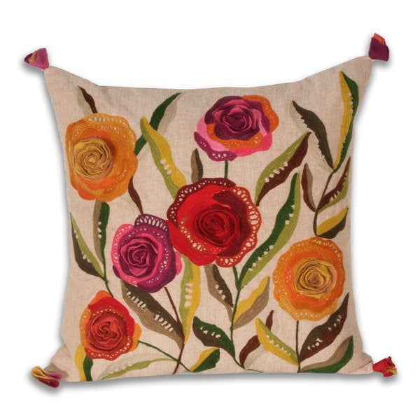 Marlo Lorenz Flores Flowers 17-inch Decorative Pillow