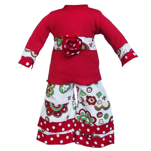 AnnLoren 2-piece Christmas Floral Outfit for American Girl Doll